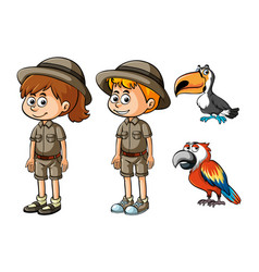 Children in safari clothes and two birds vector