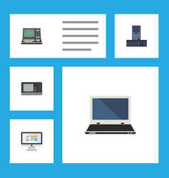 Flat icon laptop set of notebook technology vector