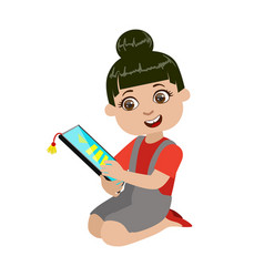 Girl reading text from screen of tablet part of vector