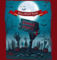 Halloween night and zombie party spooky poster vector
