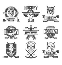 hockey logo set vector image vector image