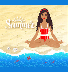 Meditating young woman on beach background vector