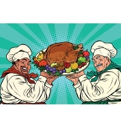 Multi-ethnic chefs with roast turkey vector