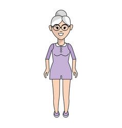 Old woman with hairstyle and jumpsuit short vector