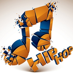 Orange 3d shattered musical note with specks and vector