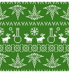 Pixel art christmas weed seamless vector image vector image