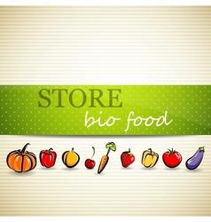 restaurant menu design with fruit and vegetables vector image