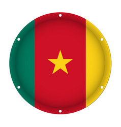 round metallic flag of cameroon with screw holes vector image vector image