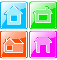 set colorful icons with cottage vector image vector image