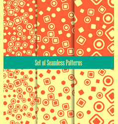 Set of seamless patterns circles squares and dots vector