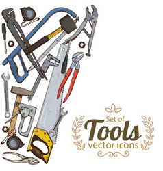 side vertical border with repair tools icons vector image vector image