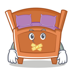 Silent cute bed character cartoon vector