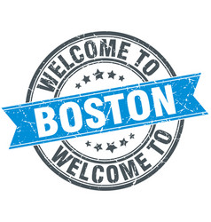 Welcome to boston blue round vintage stamp vector