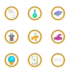 Wizard things icons set cartoon style vector