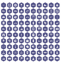 100 voyage icons hexagon purple vector
