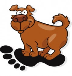Dog on footprint vector