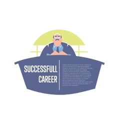 Successful career banner with big boss vector