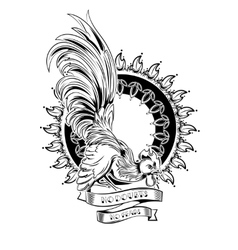 Cock Hipster Style Tattoo vector image