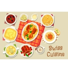 Swiss cuisine dinner with chocolate dessert icon vector