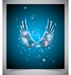 Abstract blue background with glass wings vector