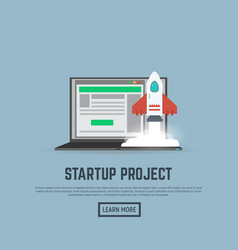 Start up rocket and laptop vector