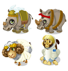 Military rhinoceros sheep and monkey cosmonaut vector