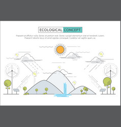 Flat line eco concept vector