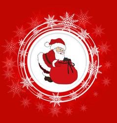 santa claus and snowflakes vector image
