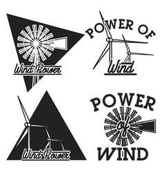 Vintage wind power emblems vector