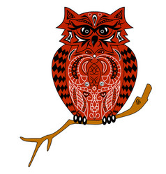 The owl sits on a branch an of an ea vector