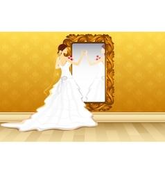 Bride in front of mirror vector