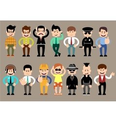 Set of men different characters poses vector