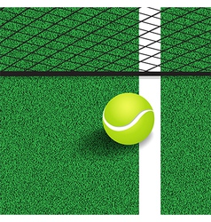 Tennis ball next to the line of the tennis court vector