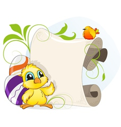 Easter invitation with chicken and eggs vector