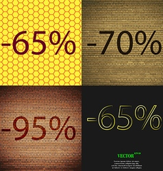 70 95 65 icon set of percent discount on abstract vector