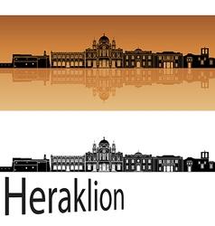 Heraklion skyline in orange vector image