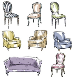 Set of hand drawn chairs and sofas vector