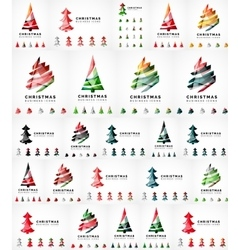 Christmas tree icon set geometric design vector