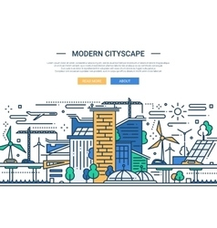 Modern cityscape - line design website banner vector