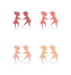 Set of paper stickers on white background pair of vector