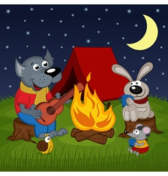 Animals resting around bonfire vector