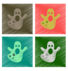 Assembly flat shading style icons halloween ghost vector