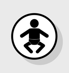 Baby sign flat black icon in vector