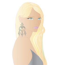 Beautiful blonde hair woman vector image