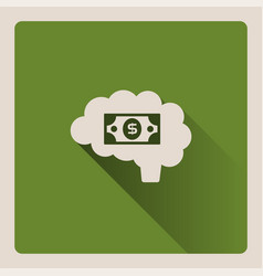 brain thinking in money on green background with vector image vector image