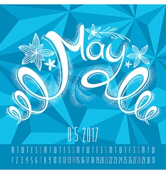 Calendar for 2017 with hand drawn lettering vector image