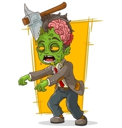 Cartoon walking green zombie with axe vector image
