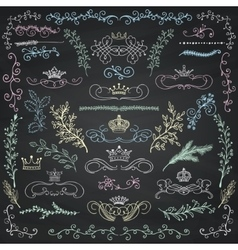 Chalk drawing floral design elements vector