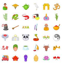 China icons set cartoon style vector
