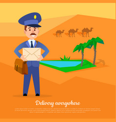 Delivery anywhere web banner post service world vector